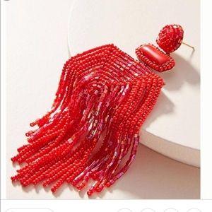 Anthropologie Red Vreeland Tassel Earrings